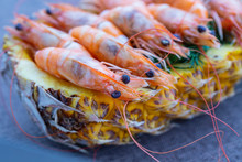 Boiled Shrimp Served In Pineapple, Close Up