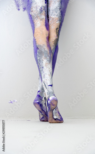 Beautiful Sexy Legs And Feet Of A Young Artistically Abstract Painted Woman Ballerina With Gray And Purple Paint Creative Body Art Painting Buy This Stock Photo And Explore Similar Images At