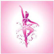Ballerina In Dress On Pink Background