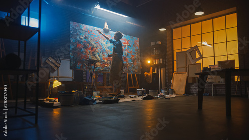 Talented Female Artist Walks to a Canvas and Starts Working on a Modern Abstract Oil Painting Using Paintbrush фототапет