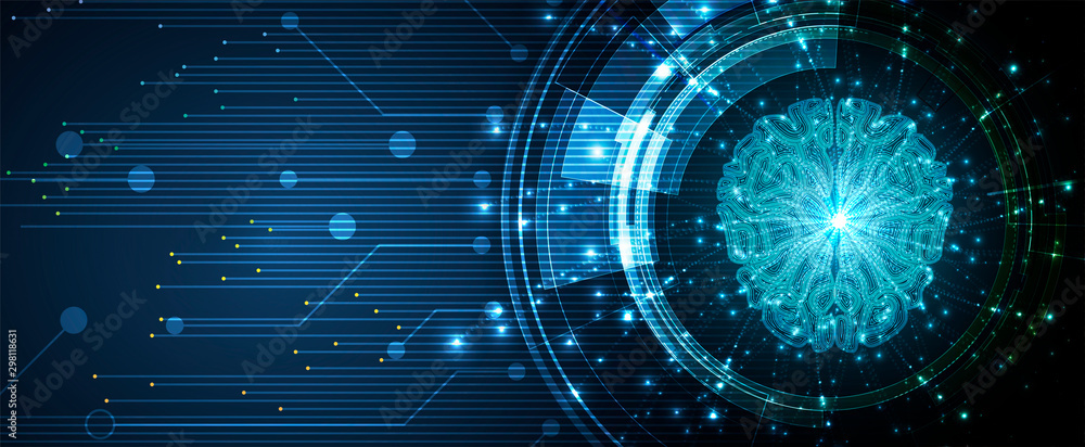 Fototapety, obrazy: Abstract Artificial intelligence. Cloud computing. Machine learning. Technology web background. Virtual concept