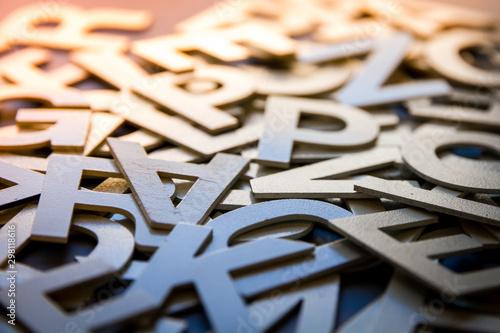 Fotografiet Mixed letters pile closeup photo