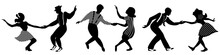 Set Of Three Negative Dancing Couples Silhouettes On White Background. People In 1940s Or 1950s Style. Vector Illustration.