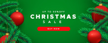 Christmas Sale Banner 3d Pine Tree And Red Bauble
