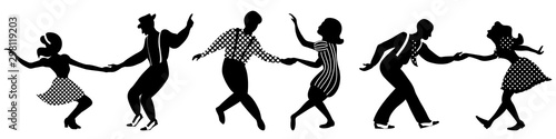 Set of three negative dancing couples silhouettes on white background Wallpaper Mural