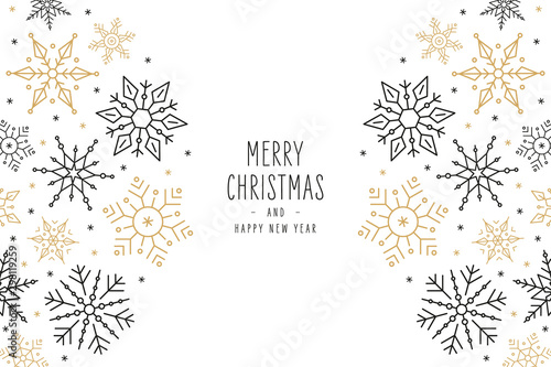 Christmas snowflakes elements ornaments greeting card on white background - 298119259