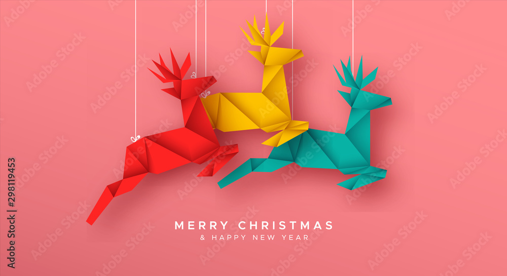 Fototapety, obrazy: Christmas New Year reindeer paper origami card