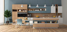 Modern Kitchen With Island And...
