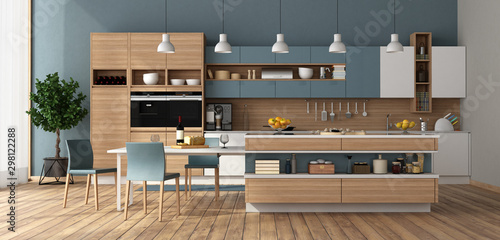 Stampa su Tela Modern kitchen with island and dining table