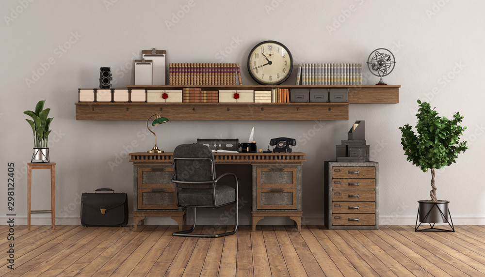 Fototapeta home office in retro style with old desk