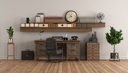 Fototapetahome office in retro style with old desk