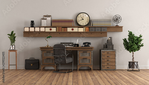 Foto op Canvas Wild West home office in retro style with old desk