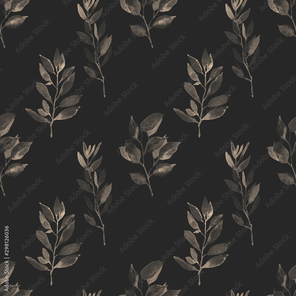 Fototapety, obrazy: Watercolor hand painted botanical leaves and branches illustration seamless pattern, wallpaper, wrapping paper