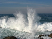 Large Splash As Wave Hits Rock On Natal Coast.