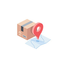 Parcel Sending, Tracking, Route Map. Vector 3d Isometric, Color Web Icon, New Flat Style. Creative Illustration Design, Idea For Infographics.