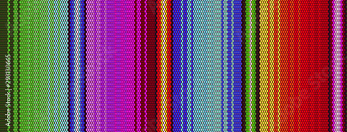 Fototapeten Künstlich Blanket stripes seamless vector pattern. Background for Cinco de Mayo party decor or ethnic mexican fabric pattern with colorful stripes. Serape design