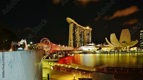Spoed Fotobehang Oranje eclat Night view of downtown Singapore