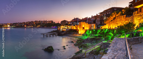 Seaside landscape, panorama, banner - view of the embankment with fortress wall Fotobehang