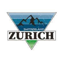 Zurich Switzerland City Travel Destination. Vector Shirt Logo