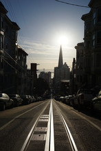 A Silhouetted View Of The San Francisco Skyline From The Top Of California Street