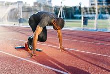 Black Sportsman Preparing To R...