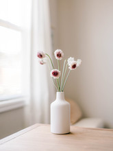 Modern White Vase With White And Fuscia Pink Flowers.