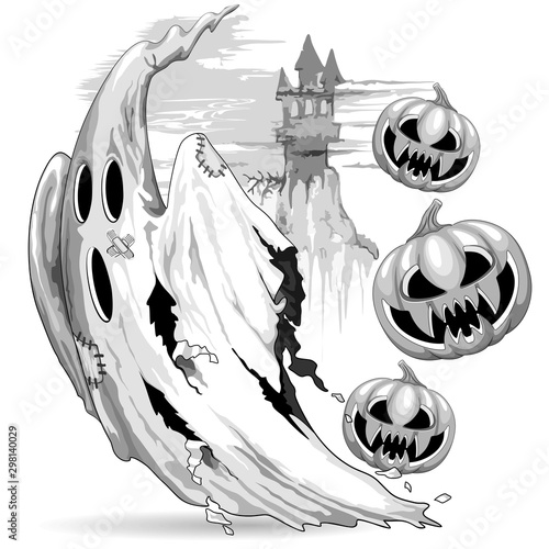 Tuinposter Draw Ghost and Evil Pumpkins funny Nightmare Escape Halloween Vector Illustration isolated on white