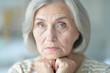 canvas print picture - Close up portrait of sad senior woman