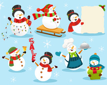 Snowman,winter,christmas,gift,set,sale,cartoon,banner,billboard,elf,santa,costume,chef,delicious,light Bulb,cute,little,group,banner,blank,holiday,new Year,celebration,party,characters,meal,dinner,sea