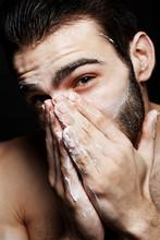Closeup Man Washing Face