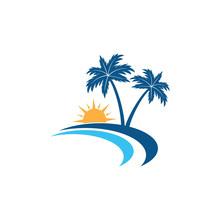 Sunrise In The Shore Line Beach With Coconut Tree Vector Logo Design