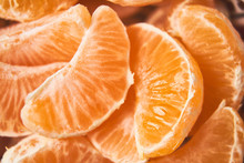 Sliced Tangerines, Close Up, Detail Of Slices