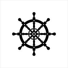 Ship Steering Wheel Icon, Boat...