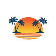 Orange Yellow Sunset Between Two Coconut Tree Island With Shadow On The Sea Vector Logo Design
