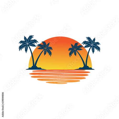 Carta da parati orange yellow sunset between two coconut tree island with shadow on the sea vect
