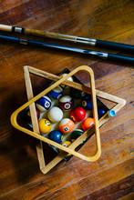 Billiard Balls With Pool Cue C...