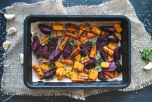 Overhead View Of Grilled Vegetables With Spices On Baking Tray