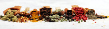 Spices With Pepper On Table. Food And Cuisine Ingredients For Cooking On Rustic Background