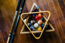 Billiard Balls With Cue