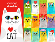 Calendar 2020 With Cute Cats. ...