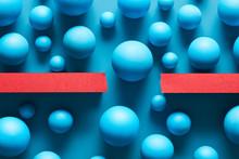 Composition Of Blue Balls For Border Concept