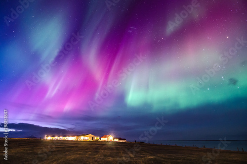 colorful northern lights in Iceland Canvas Print