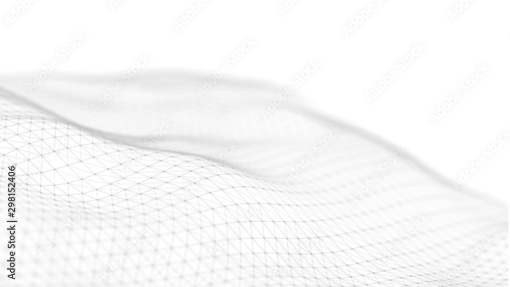 Fototapety, obrazy: Wave of particles on white background. Network connection dots and lines. Digital background. 3d rendering.