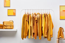 Stylish Wardrobe With Bright Clothing On Rack