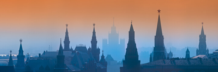 Aerial view of Moscow during blue and orange sunset, Russia.