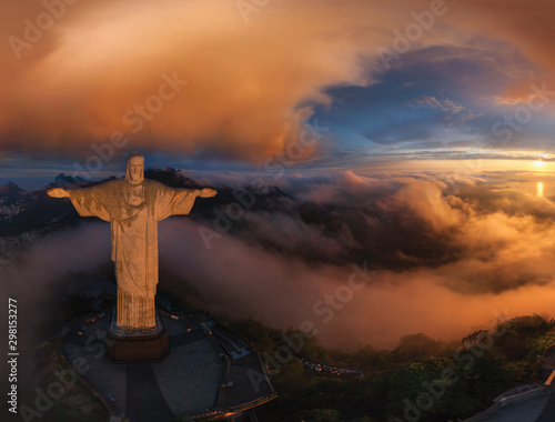 Staande foto Historisch mon. Aerial view of Christ Redeemer Statue during sunset