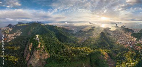 Fotobehang Historisch mon. Aerial view of Christ the Redeemer in Rio de Janeiro