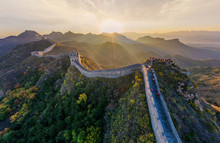 Aerial View Of Tourist Visiting The Great Wall Of China