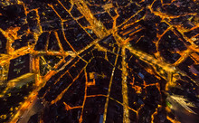 Aerial View Of Porto Cityscape During Night, Portugal