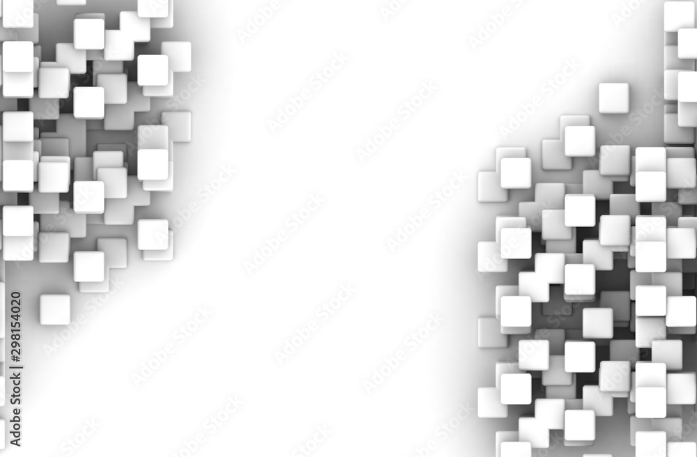 Abstract geometric shape of white cubes 3d render. Futuristic fashioned glossy background.
